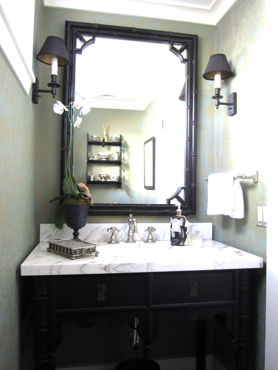 damask + black + marble in powder room