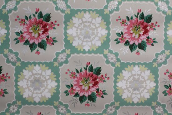 1940's Vintage Wallpaper pink roses with green by HannahsTreasures, $14.00