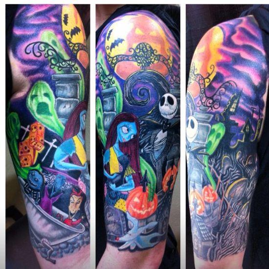 Nightmare Before Christmas half sleeve, by Smallz, EC Tattoo II, San Diego, CA - Imgur