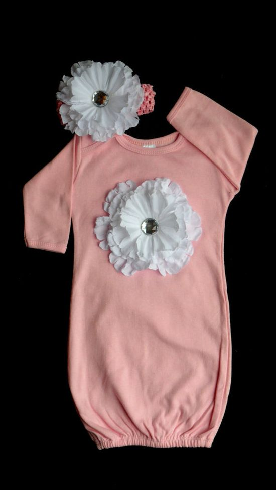 Take Home Outfit Layette Gown Baby Girl Clothes  Flower Layette with Headband Gift Set on Etsy, $30.00