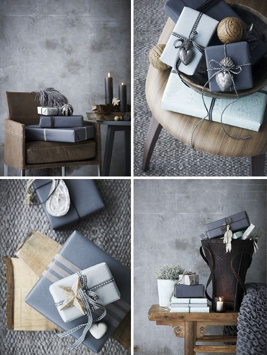 Gray. #gray #gift #wrapping #packaging #twine #ornaments #Christmas