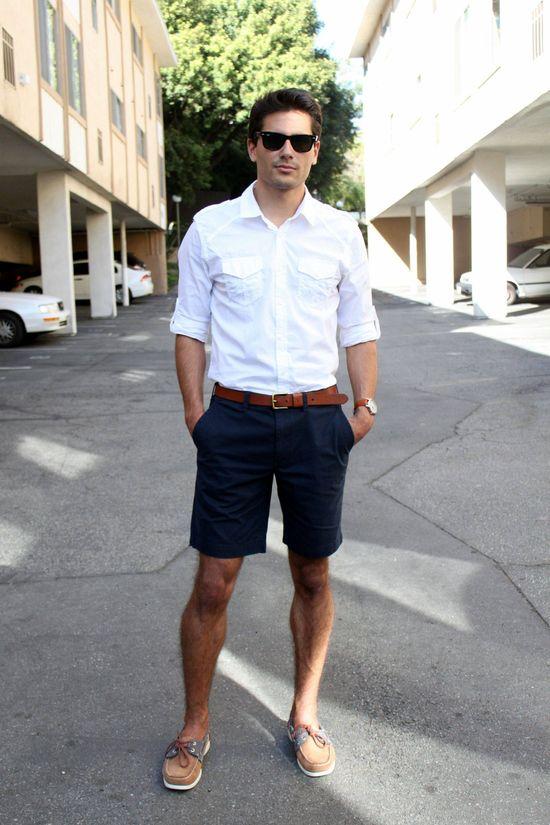 Summery ed, dark navy shorts, white shirt, brown belt, boat shoes, shades & watch / men fashion