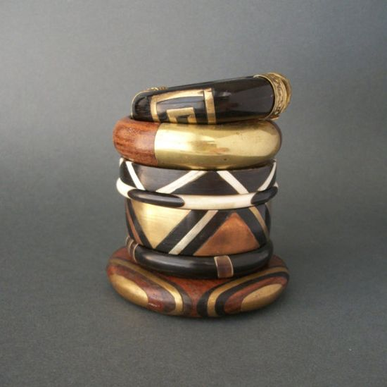brass and wood bangles