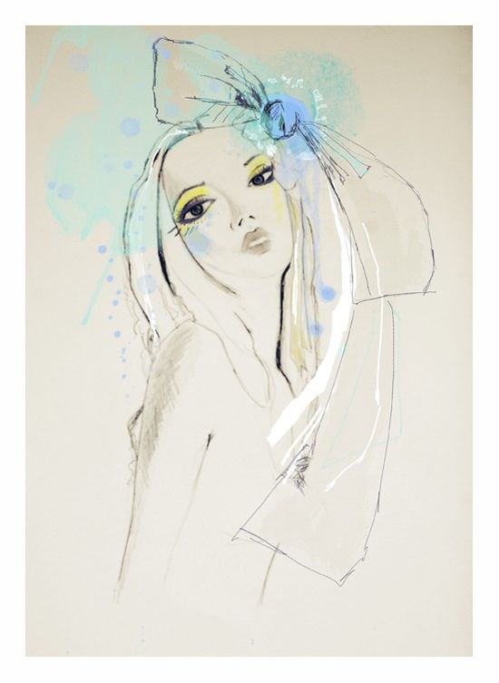 Fashion Illustration, blue, green,  portrait, drawing.