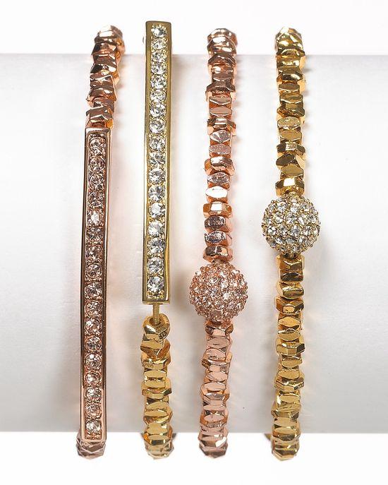 Michael Kors Rose Gold Beaded Bracelets