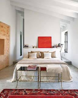 Warm-colored bedroom.