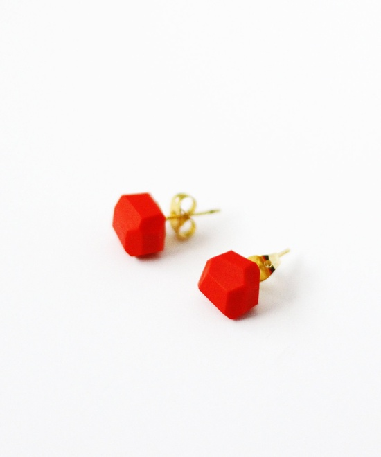 red geo earrings by AMM Jewelry