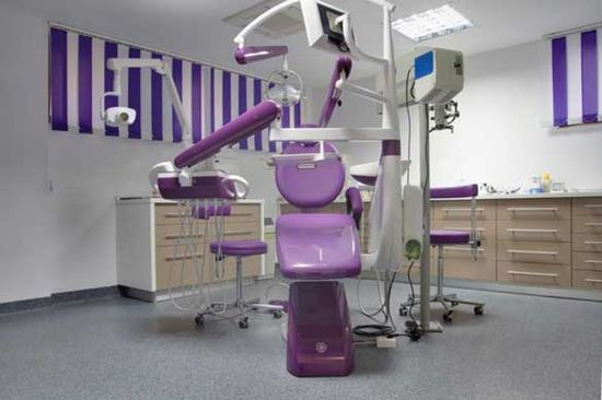 Color-themed dental office.
