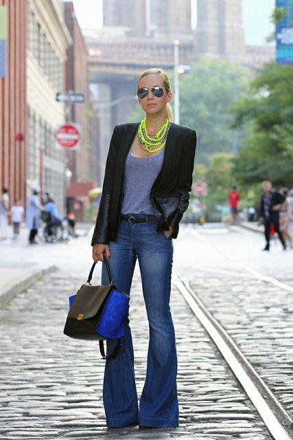 neon accessories and extreme wide leg denim