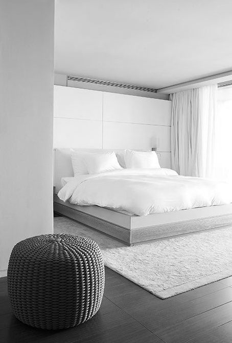 ? Minimalist bed room design Simplistic grey with white
