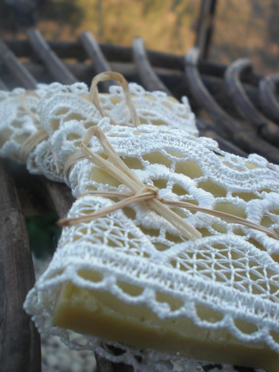 50 Wedding Favors/ all natural Soaps Wrapped in Lace / by sofiart, $75.00 +dreadstop @DreadStop