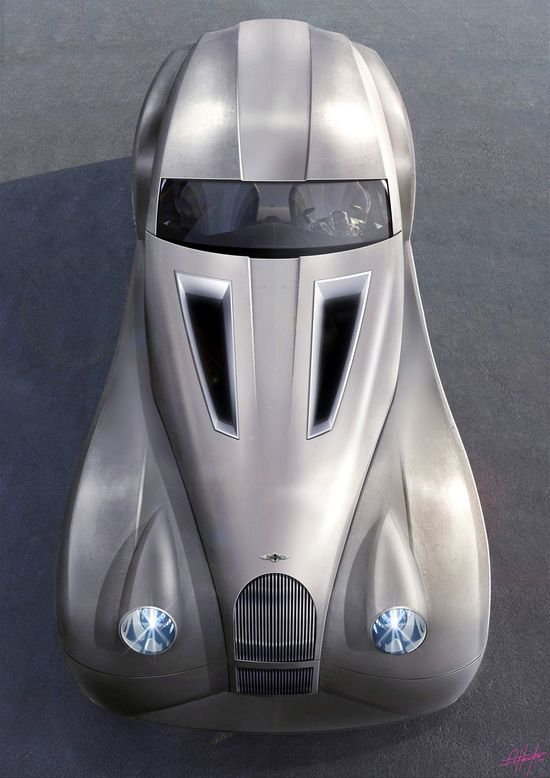 Morgan Lifecar, a hydrogen powered concept. Classic car design