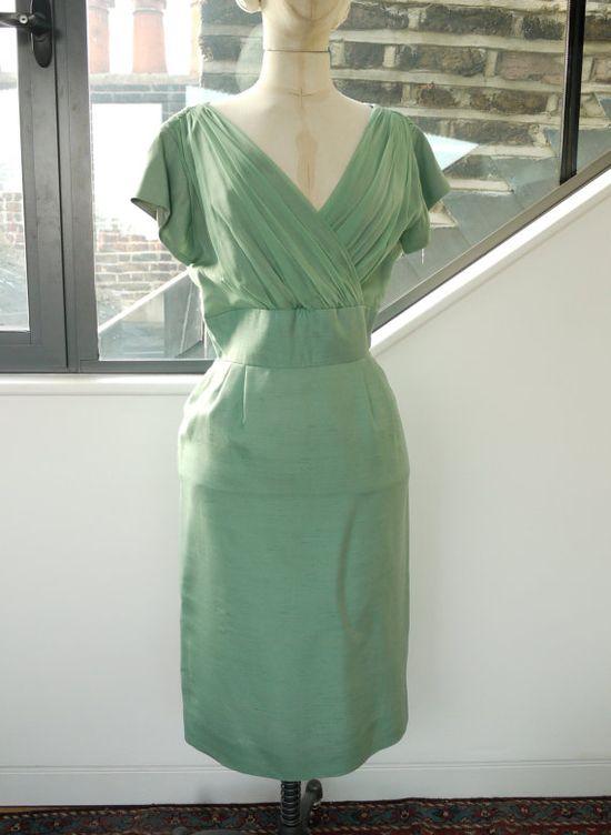50s mint green silk chiffon wiggle dress and bolero by BountyBoo