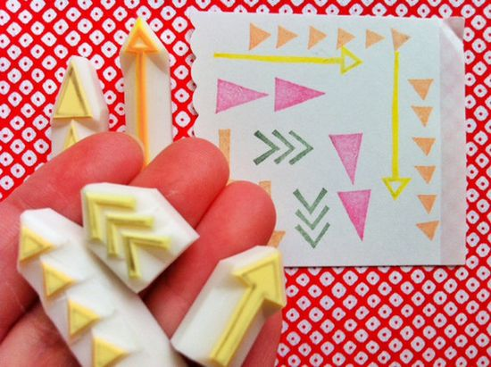 geometric rubber stamps  hand carved rubber stamp  by talktothesun