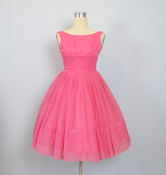 Vintage 1950's Pink Chiffon Cupcake Party Prom Dress......YES!!