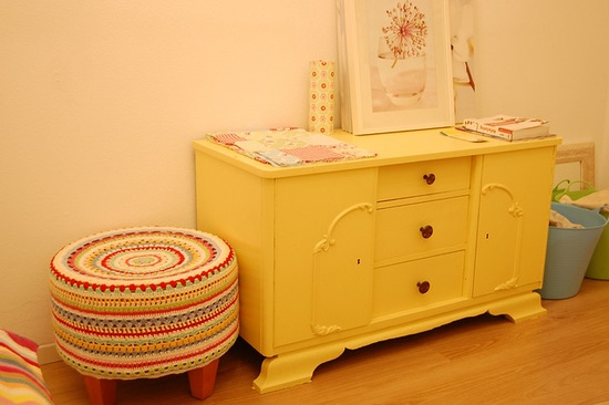 Wow! With awesome yellow dresser, quilt blocks on top. Just about perfect :) #crochet #stool #yellow #painted furniture
