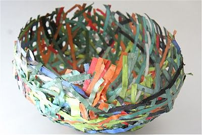 paper mache bowl with paper strips