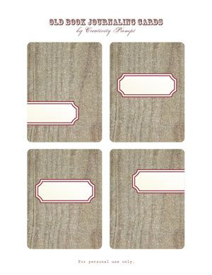 Old book Journaling cards