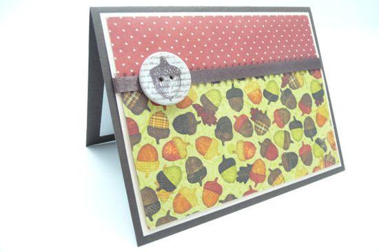 Happy Thanksgiving Card, Autum Acorn Card, Fall Card, Handmade Thanksgiving Greeting Card