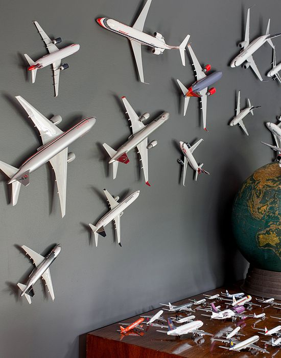 mounted toy airplanes + globe