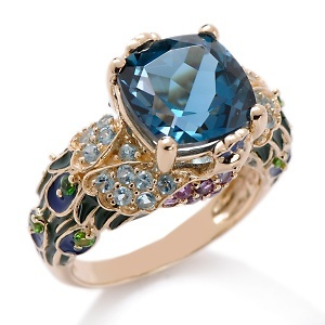 Victoria Wieck 14K Gold & Blue Topaz stone Peacock Ring