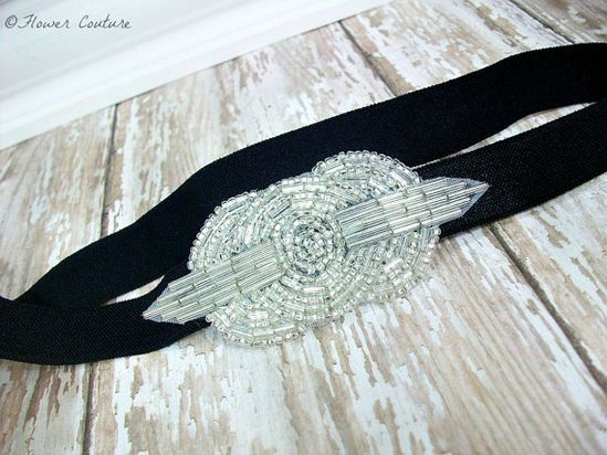 Sparkling Silver Art Deco Beaded Headband by FlowerCouture, 22.00