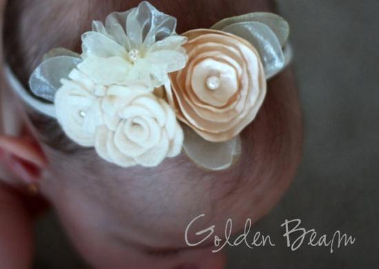 Flower Girl Headband - Ivory and Cream Flower Bouquet Handmade Headband. £20.00, via Etsy.