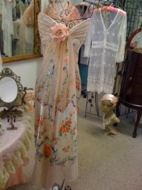 1930s rose floral silk sarong fabric