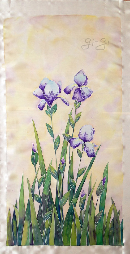Original Painting on Silk -Irises- Cold batik