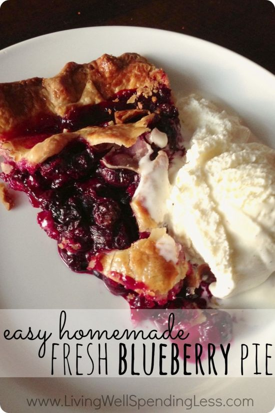 Easy Homemade Blueberry Pie. Awesome recipe for the easiest ever fresh blueberry pie. This might be the best pie I've ever had!