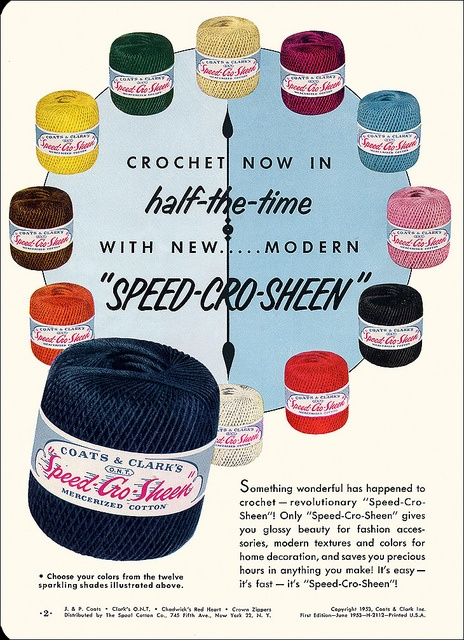Crochet in half the time! #vintage #1950s #crochet #ads