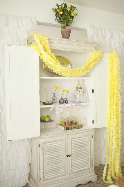 Lovely decor at a Tangled Party!  See more party ideas at CatchMyParty.com!  #tangled #partyideas