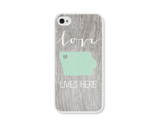Customized State Map Apple iPhone 4 Case - Plastic iPhone 4s Case - Wood Personalized iPhone Cover Skin - Mint Green Brown White Cell Phone.