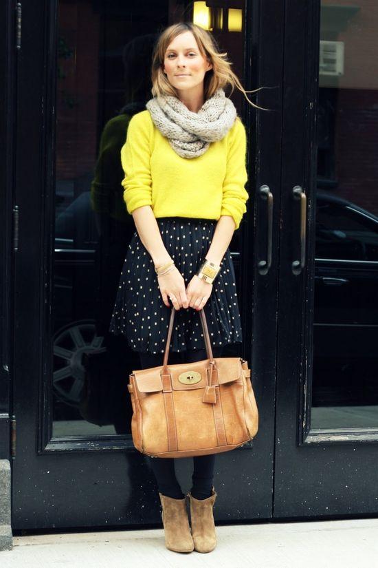 yellow and polka dots