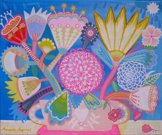 Flowers and a Star by Mercedes Lagunas #folk #flowers #pastel   www.facebook.com/...