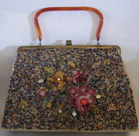 Soure' Beaded and needlepoint handbag