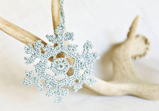 Blue Christmas Tree Ornament  Crochet Snowflake by BobbiLewin, $17.00