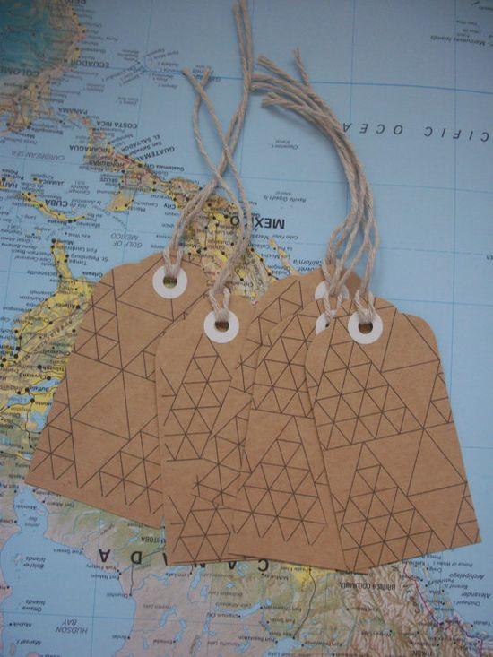 Set of 5 kraft gift tags. geometric pattern. via LaurellLoves