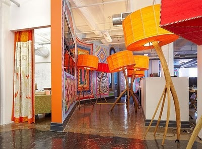 Etsy's eclectically cool offices are furnished with colourful over-sized lamps. #cooloffice #brightoffice #design
