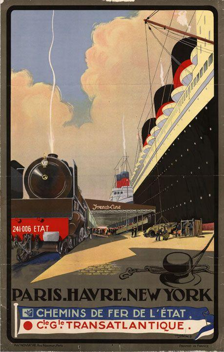 Paris.Havre.NewYork. #vintage #travel #poster