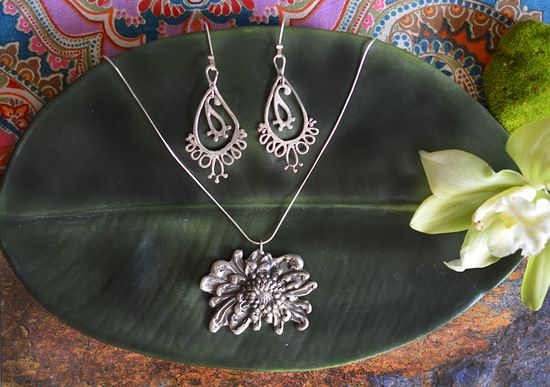 Large Mum Necklace in Sterling Silver « SilverBotanica – Handmade Jewelry designed by Alicia Hanson