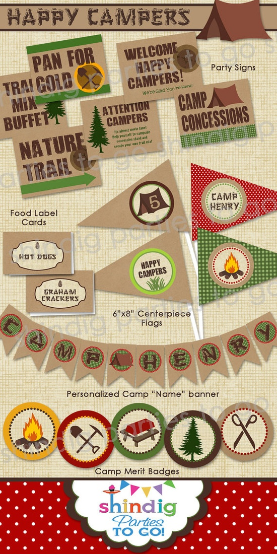 Camping Party Printables ....Maybe order some & make some!!