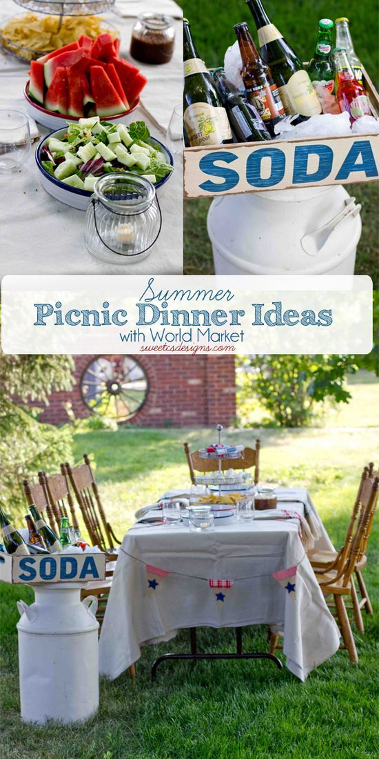 Summer picnic dinner ideas- how to set up a gorgeous, fun picnic or farm to table dinner in minutes! So many awesome ways to make an ordinary summer night out especially memorable!