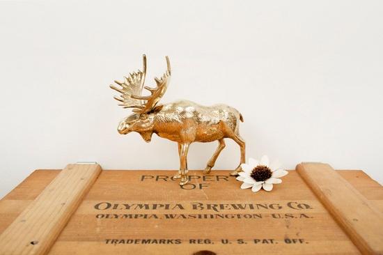vintage brass moose figurine.