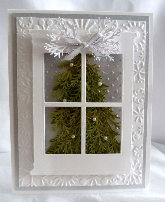 Items similar to Silver Window Christmas Tree Card on Etsy