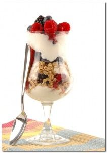 I made of variation of this Yogurt Parfait for Christmas breakfast.  I used vanilla yogurt, layered with blueberries, strawberries and granola.  Any fresh fruit will do.