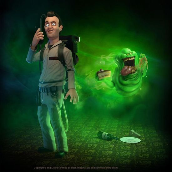 Peter Venkman 3d model and character design with slimer in th eback ground, all created in CGI and in Maya.