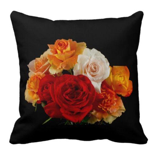 Colorful Rose Bouquet Pillows #zazzle #pillows #rosepillows #rosebouquet #rosedecor #roses