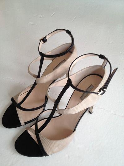 Nude + Black Strap Heels