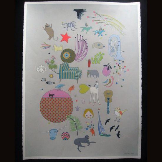 Jennifer Davis art original painting - Things To Look At. 550.00, via Etsy.